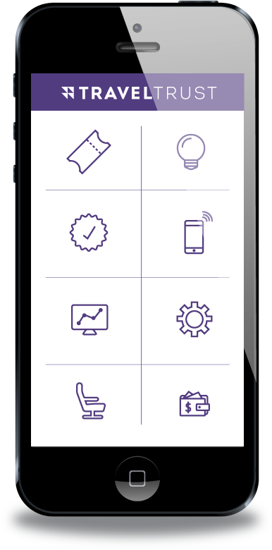 Phone showing features and benefits icons